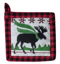 (1) Camp Christmas Moose Print Cotton Country Kitchen Potholder