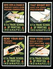 USA Poster Stamp - U.T.A. Trade School of Printing, Indianapolis - Set of 4