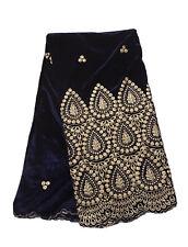 "1.5 Yard Purple Velvet W/gold Border embroidered Fabric 50"" Width"