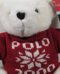 Polo Ralph Lauren White 2000 Red Sweater Bear That Cares Christmas Poinsettia tg