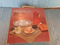 Vintage 1950's Homestead Snack Set by Federal Glass, Four Plates Four Cups NIB