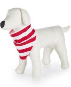 Family Pajamas Candy Cane Stripe Red-White Dog Bandana - L/XL #1196
