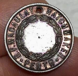 RARE R.F. MACAULAY WATCHMAKER PERTH (SCOTLAND) COPPER TOKEN XVF/aUNC