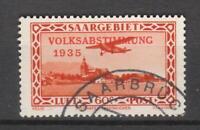 Saargebiet: Nr. 196 mit Plattenfehler VI gestempelt