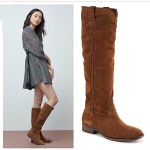 New $377 FRYE 'Cara' Tall Suede Boots, Brown, 6