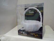 BRIDE & BELLE FLOWER GIRL SILK BASKET WITH DIAMENTE HEART BROOCH WHITE OR IVORY