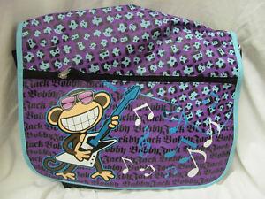 "Brand New 16"" Bobby Jack Backpack Messenger Bag Purple & Black Rockstar Monkey"