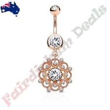 With Crystal Paved Vintage Filigree Dangle Rose Gold Plated Clear Gem Belly Ring