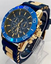 Mens Wrist Watch Luxury Gold Blue Silicone Strap Spots Classic Designer Smart Uk