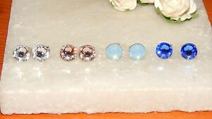 Beautiful G/P Stud Earrings with 7mm Crystal-Choice of Colours-Wedding-Gifts
