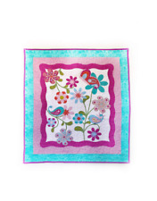 Bird Quilt Panel - Handmade Baby Quilt - Baby Girl Quilted Panel