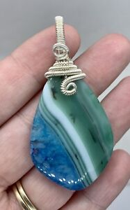 Green/Blue Agate Pendant silver plated Wire Wrapped hand made gemstone jewellery
