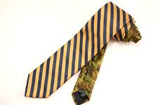 SOCIAL PRIMER Muted Navy & Gold Striped w/ Contrast Camo Tail USA 100% Silk Tie