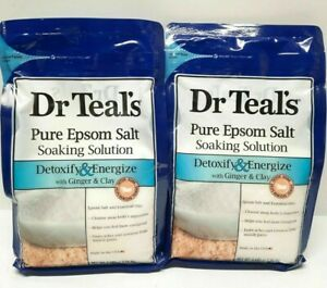 2 - Dr. Teal's muscle pain Epsom Salt Detoxify & Energize Ginger & Clay 3Lbs ea