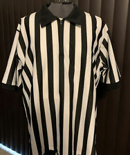 New listing Vintage athletic apparel referee black white stripe collared shirt Large 1/2 zip