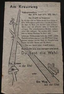 Original USA WW2 Surrender Leaflet Dropped on German Troops At Crossroads