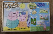 Peppa Pig 7 Wood Puzzles In Wooden Storage Box