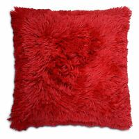 "Long Pile Super Soft & Cuddly Shaggy 17x17"" (43x43cm) Cushion Cover (Red)"