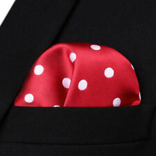 HD704R Red White Polka Dot Men Silk Party Handkerchief Pocket Square Hanky