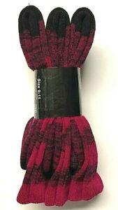 3 Pair Ladies 82%Merino Wool Multicolor (Red) Crew Socks SZ 9-11 Made in USA