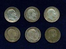 ENGLAND KING EDWARD VII THREEPENCE SILVER COINS: 1902, 1903, 1904, 1908, 1909,..