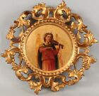 Antique Carved & Gilt Wood Rococo Frame Miniature Icon Angel & Violin Painting