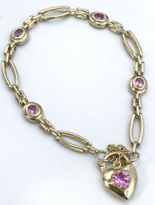 9k Pink CZ gate Bracelet with Heart Padlock_375 yellow gold_safety chain