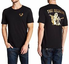TRUE RELIGION Gold Big Buddha Crew Neck T-Shirt in Black Sz.Large NWT $79