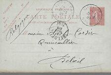 ENTIER  POSTAL  CARTE  POSTALE  TYPE SEMEUSE 1907