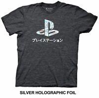 Playstation Logo Foil Gamer Licensed Adult T Shirt