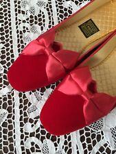 Nos Vtg Red Velvet Slippers Shoes Daniel Green Satin Quilted Lining 7 Valentines