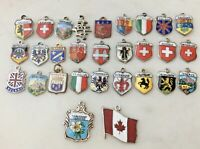 29 Vintage REU 800 Sterling Silver Enamel Travel Shields Charms Lot Germany