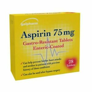 Aspirn 75mg GASTRO-RESISTANT PAIN RELIEF ENTERIC COATED - FAST & FREE DELIVERY!