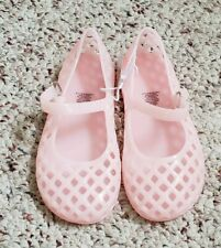 NWT Old Navy Girls Light Pink Jelly Sandals Shoes w/ Hoop & Loop Closure Sz 10
