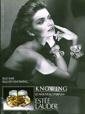 Publicité ancienne parfum Knowing Estée Lauder non parfumé