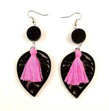 Dark Pink Cotton Tassels Lightweight Laser Cut Black Wood Dangle Earrings #678