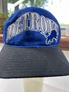 Vtg 90s Starter Pro Line 100% Wool NFL Detroit Lions Snapback Hat Cap Spell Out