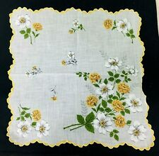 Vintage Hankie Yellow & Orange Marigolds White Flowers Scalloped Yellow Edge 13