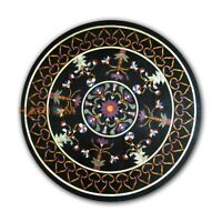 24'' Round Marble Black Coffee Table Top Marquetry Inlay Living Room Decor B062