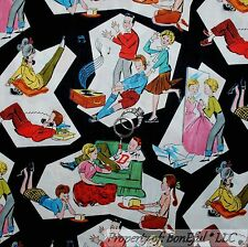 BonEful Fabric FQ Cotton Quilt Black B&W Kid Music VTG Antique Family Retro Hip