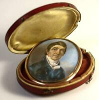 Antique Georgian Portrait Miniature in Oyster Locket Frame and Leather Case, Etu