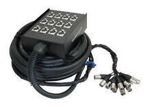 NEW 12 Channel XLR Sound Snake Box 65' Cable, Stage front, Drums Mic, Back line