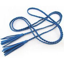 Frauen Taille Seil Nubukleder gestrickt Taille Quaste Zopf Gürtel Kette Seil