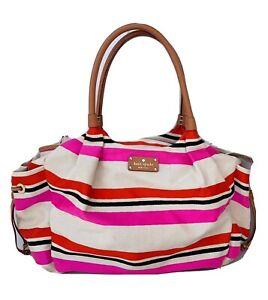 Kate Spade Stevie Watson Lane Baby Diaper Bag Pink, Red And White Stripe No Pad