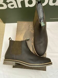 Brand New In Box BARBOUR Farsley Chelsea Boots! Leather Brown! Size 11! RRP £125