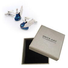Mens Blue Ink Pot & Quill Cufflinks & Gift Box Writing Stationary By Onyx Art