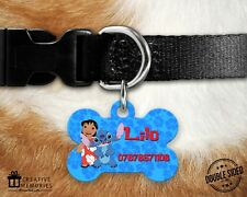 Personalised Pet Tag - ID Tag - Dog Tag - Bone Tag - Lilo & Stitch Blue