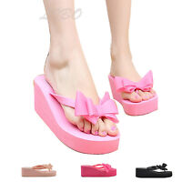 Women Fashion Bow Slippers Sandals Wedge Heel Flip Flop Beach Casual Jelly Shoes