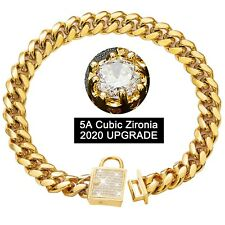 Gold Dog Chain Collar with Zirconia Locking for Small Medium Large Dogs