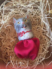 New 3D Dresden Grey Tabby Cat Paper Christmas Ornament Candy Container Red Bow